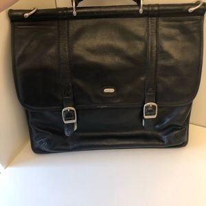 Leather Bugatti laptop bag briefcase